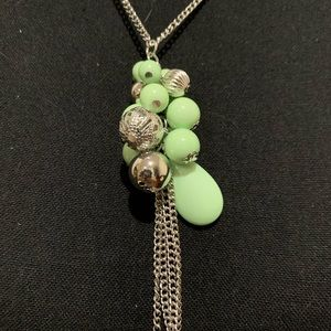 Lime Green Beaded Necklace and Earrings